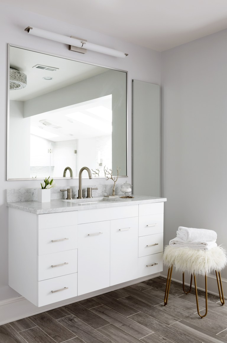 white cabinetry floating vanity