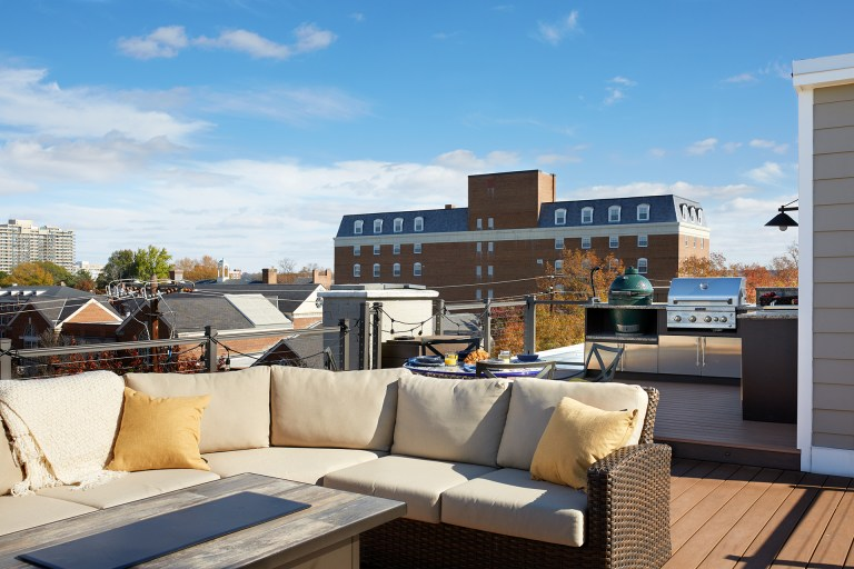 rooftop living area on virginia townhome