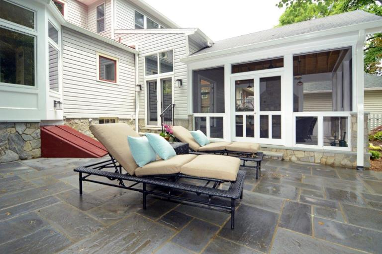 flagstone patio off of screened in porch