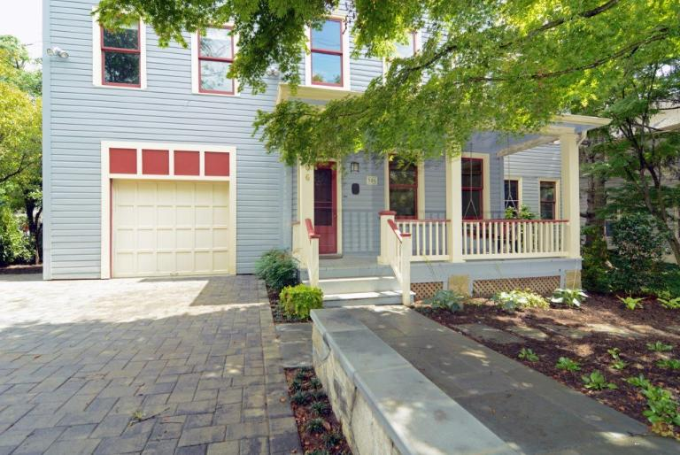 front driveway and entryway of virginia home red and light blue color palette
