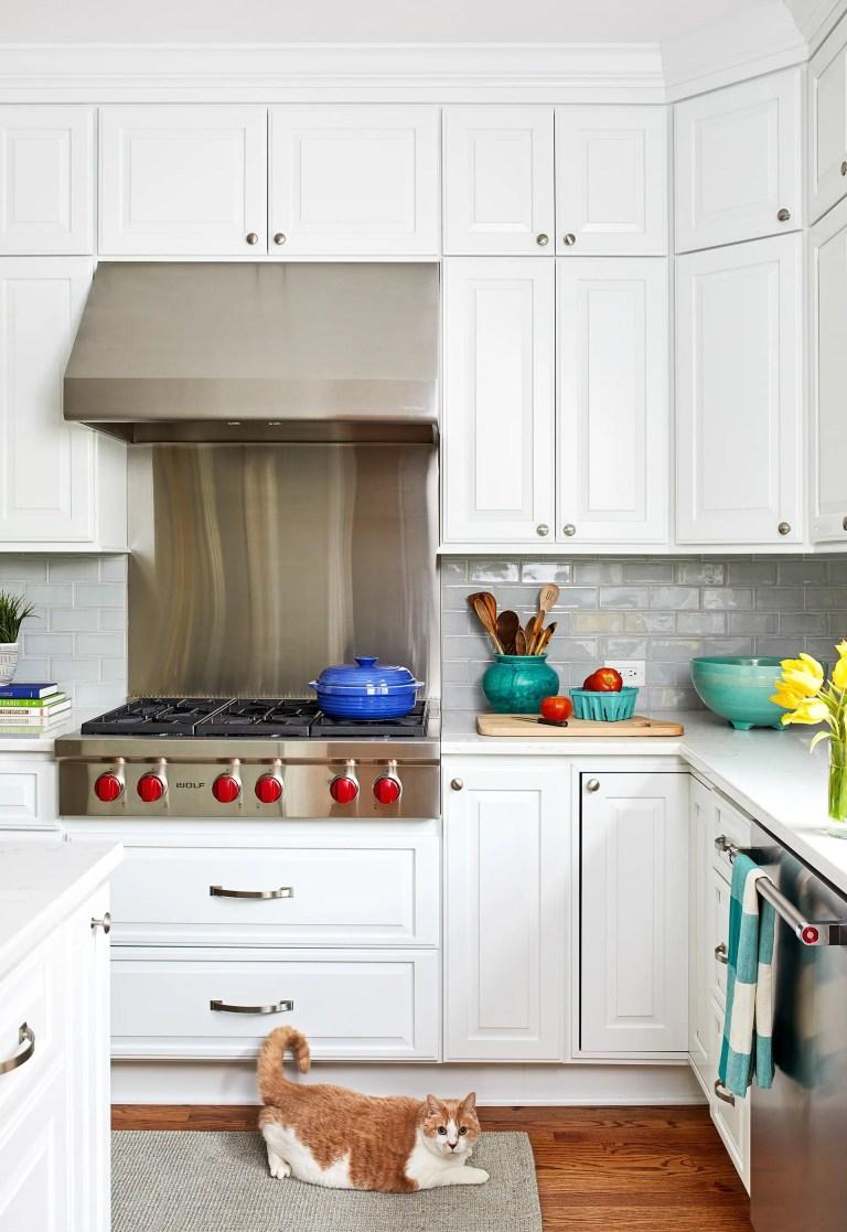 blue subway tile backsplash stainless steel backsplash behind stove
