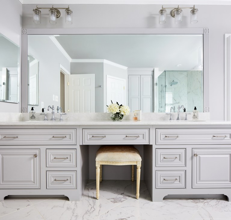 double sink bathroom vanity set in grey with round undermount sink, white marble countertop, large mirror