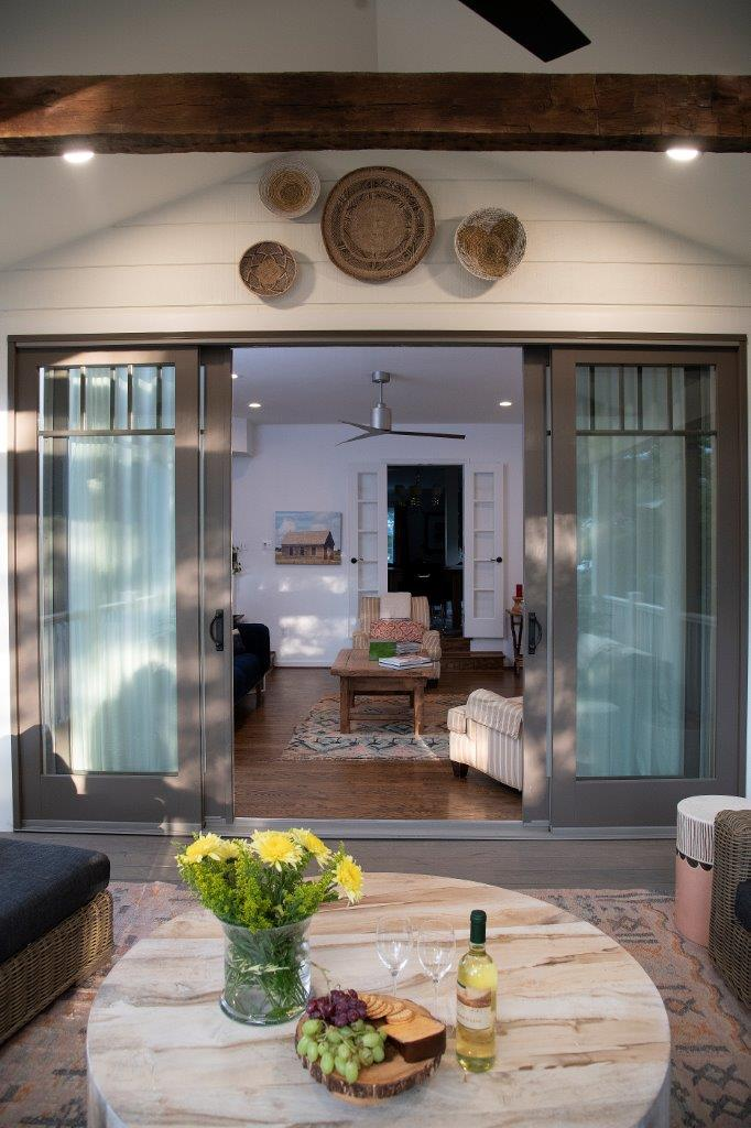 sliding doors separates living room and patio
