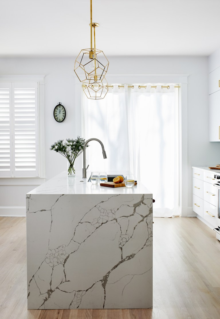 Modern white and gold kitchen