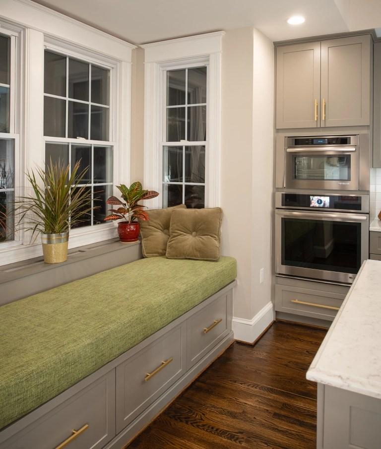 window seat offers prime seating in breakfast nook