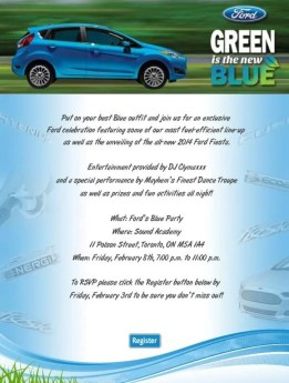 An email invitation to the Ford Blue Party Toronto 2013