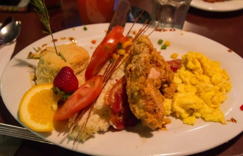 BiSC and Las Vegas 2013 — The Quad — Hash House A Go Go — Indiana Favorites — Andy's Sage Fried Chicken Benedict w/ maple reduction, 2 eggs, bacon mashed potatoes & biscuit