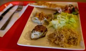 Scarborough Dishcrawl II — Naan & Kabob — Naan, Mantu, Chicken Breast Kabob, Basmati Rice and Salad with Yogurt Dressing