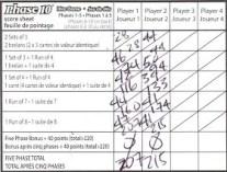 Mattel Game On! Gameology — Phase 10 Dice Game — Score Sheet Side 1