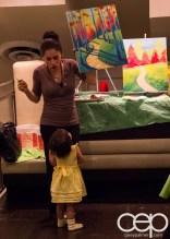 #BuytopiaPaintNite — Paint Nite Toronto — Banu — Angela Nurpetlian playing with Akira Murphy