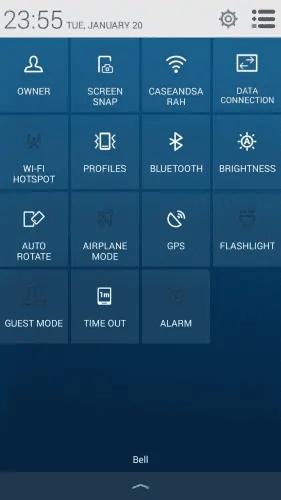 Alcatel OneTouch Idol 2 S — Quick Settings Menu
