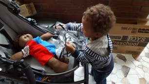 The Week That Was... October 4-10, 2015 — Little Man Putting Tony the Cabbage Patch Kid Away in His Uppababy Vista Stroller