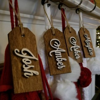 wood stocking name tags