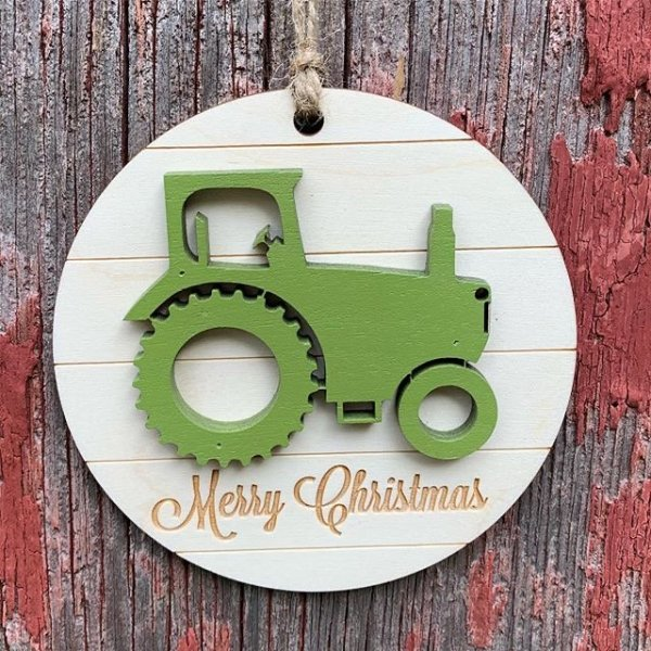 Wood Christmas Ornaments Tractor