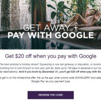 Save $20 at Hotel Tonight when you pay with Google Pay