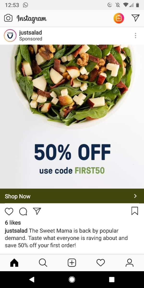 Get 50% off your first order at Just Salad with this code