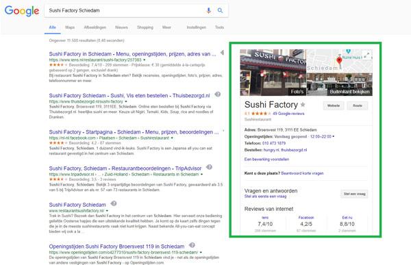 Restaurant in Google resultaten