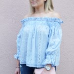 Blue Ruffled Off the Shoulder Top and Jeans