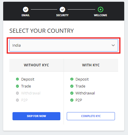 Select Country and Choose Account type