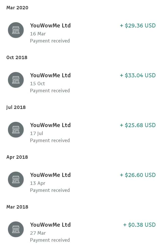 wow app payment proof. Paypal paid YouWowMe Ltd, WowApp