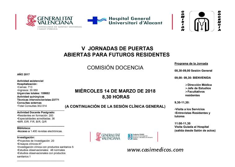 Hospital General Universitario de Alicante: V JORNADAS DE PUERTAS ABIERTAS para los futuros residentes @ Hospital General Universitario de Alicante | Alicante | Valencian Community | Spain