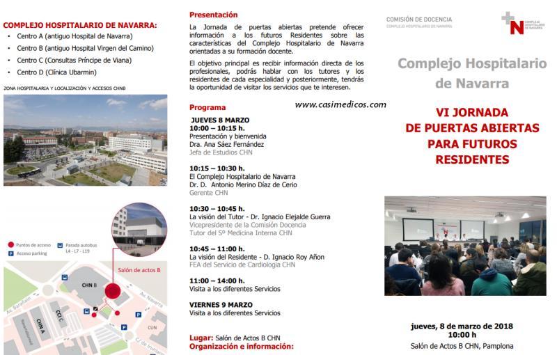 VI JORNADA DE PUERTAS ABIERTAS Complejo Hospitalario de Navarra PARA FUTUROS RESIDENTES @ Complejo Hospitalario de Navarra | Pamplona | Navarra | Spain