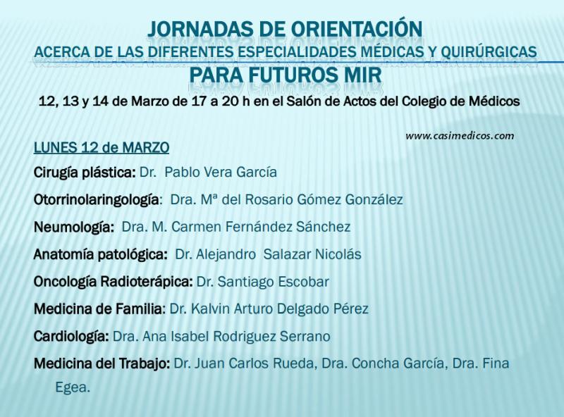 Jornadas de Orientación sobre especialidades para futuros MIR Colegio de Médicos Murcia @ Colegio Oficial de Médicos de Murcia   Murcia   Región de Murcia   Spain