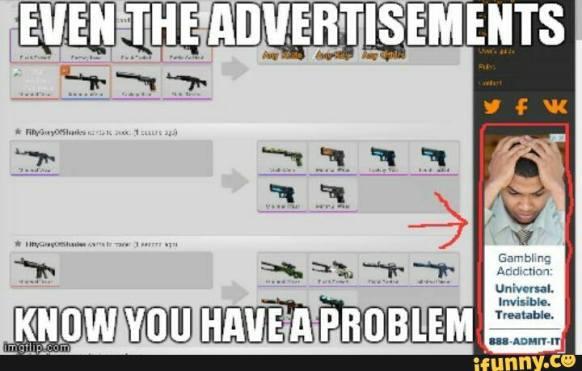 problem gambling ad next to CSGO gambling site screenshot