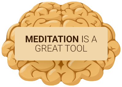 golden brain with meditation quote