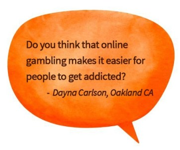 orange speech bubble with question about online gambling