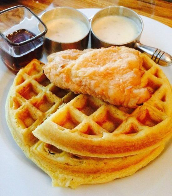 A brunch option consisting of waffles, available at Andre's