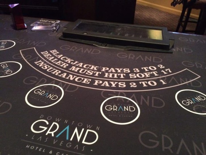 A blackjack table on the casino floor at Downtown Grand