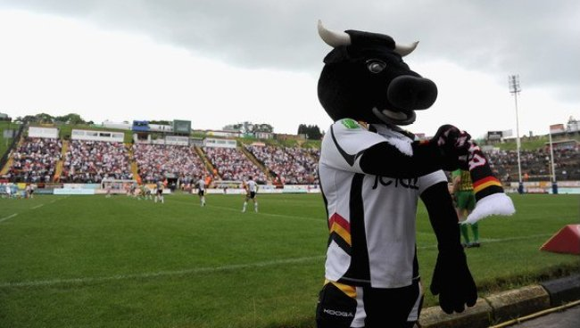 A photo of the Bradford Bulls mascot, Bullman