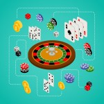 illustration showing casino game elements