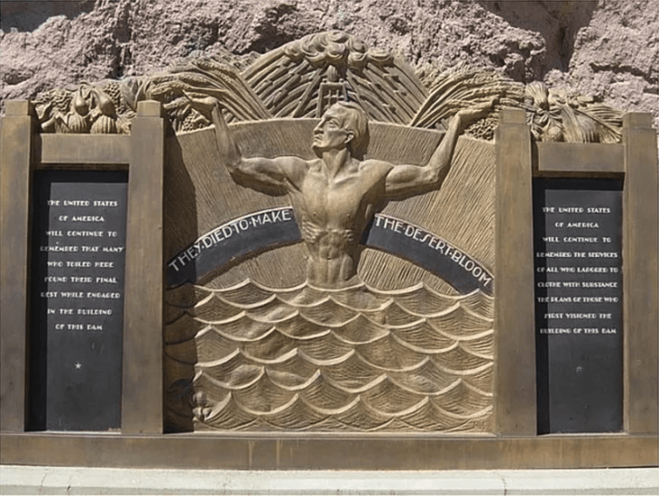The memorial outside of the Hoover Dam commemorating the deaths of workers