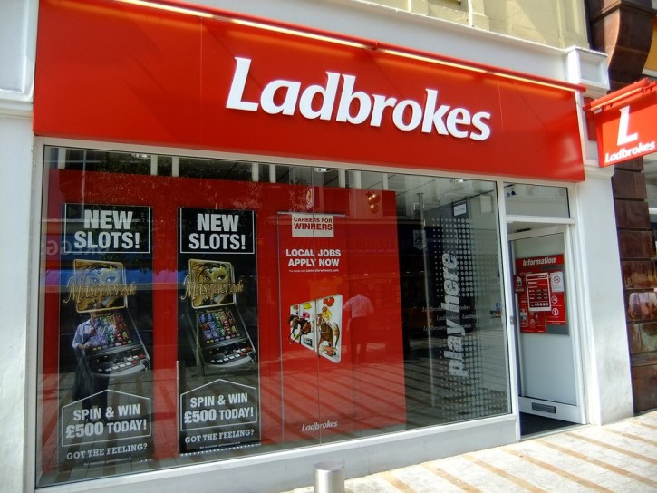 The store front of Ladbrokes, a popular UK bookmakers