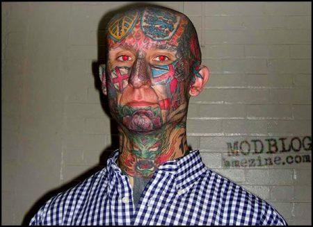 super England and Leeds football fan's face tattoos