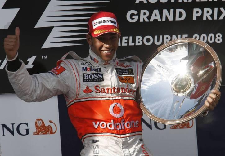 Lewis Hamilton on the podium after winning F1 in Australia