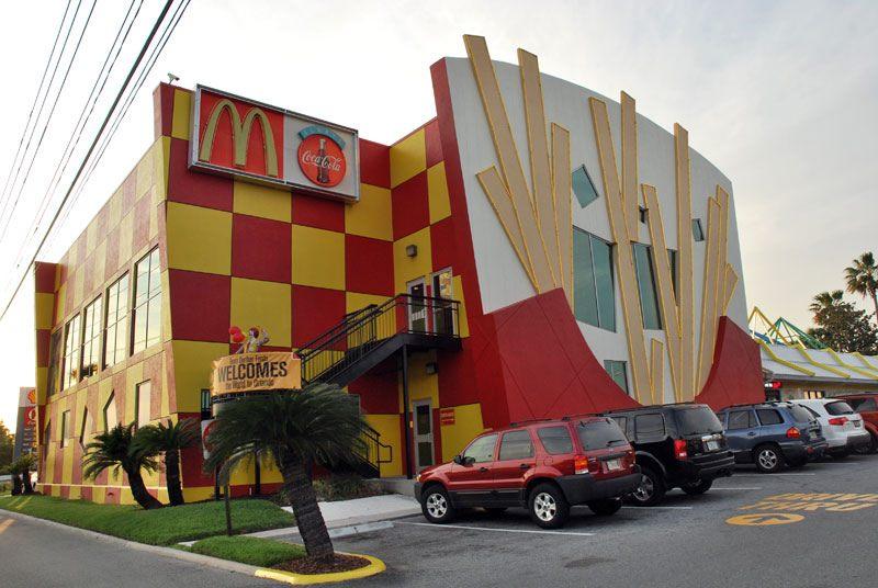 weird mcdonalds restaurant with fries on wall