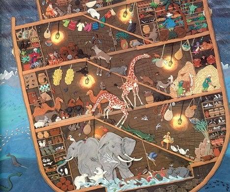 multicoloured Noah's ark illustration