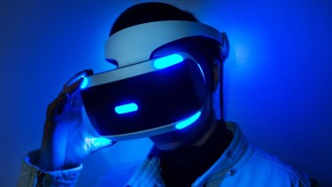 Someone gaming with a Playstation VR headset