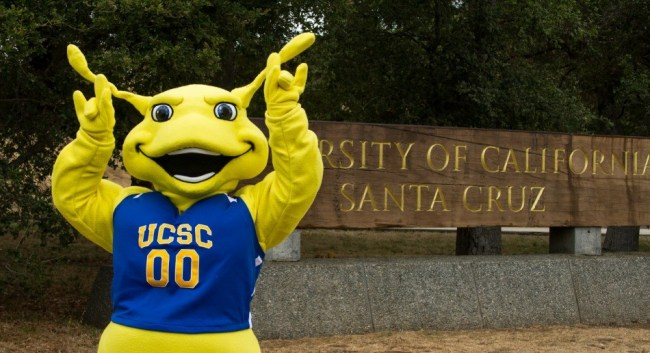 A photo of Sammy the Banana Slug posing, the California Santa Cruz mascot