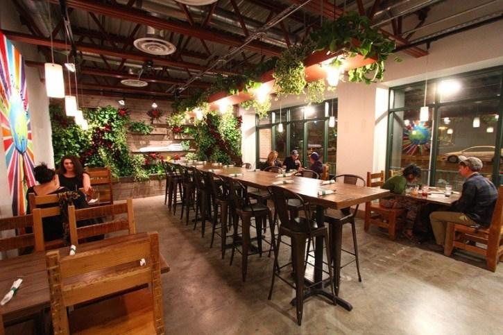 Inside VegeNation, a popular vegan restaurant
