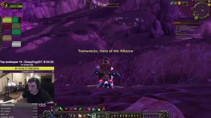 Trainwrecks streaming World of Warcraft gameplay