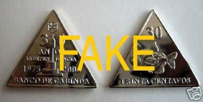 weird triangle shape fake coins
