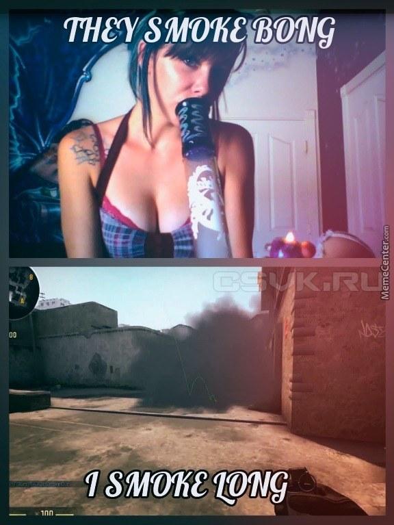 girl with bong and long smoke CSGO joke meme