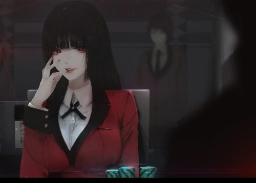 A shot of Kakegurui gambling in the show