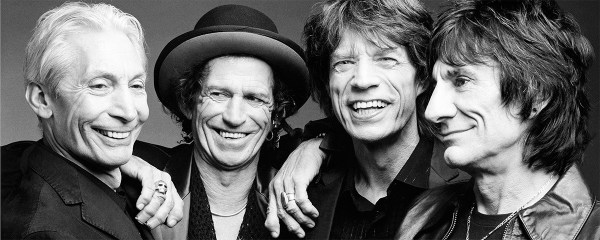 group black and white photo of rolling stones band