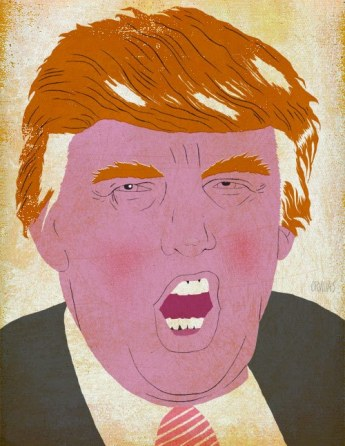 illustration of close up Trump's face