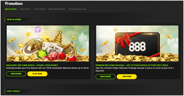 888 Casino Bonuses and offers
